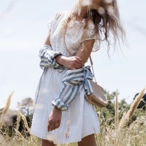 Madewell White Geo-Lace Eyelet Dress